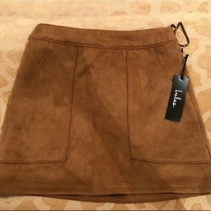 Lulu's Tan Suede Mini Skirt